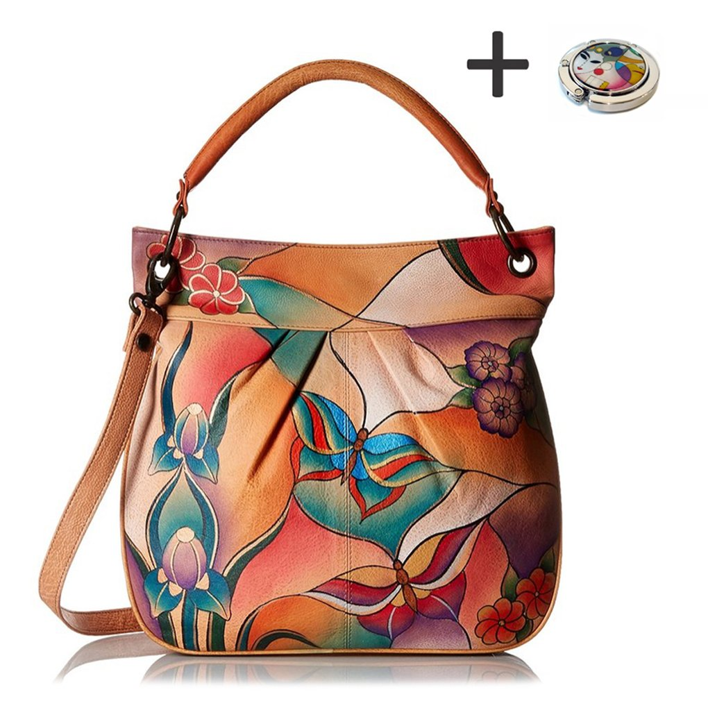 Anuschka Anna Hobo Handbag Hand Painted Design on Real Leather Purse with Purse Holder, Convertible Butterfly Glass Painting by Anna by Anuschka