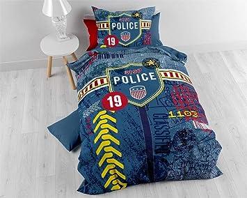 Bettwäsche Baumwolle Sleeptime Kinder Polizei 140cm X 200cm Mit 1