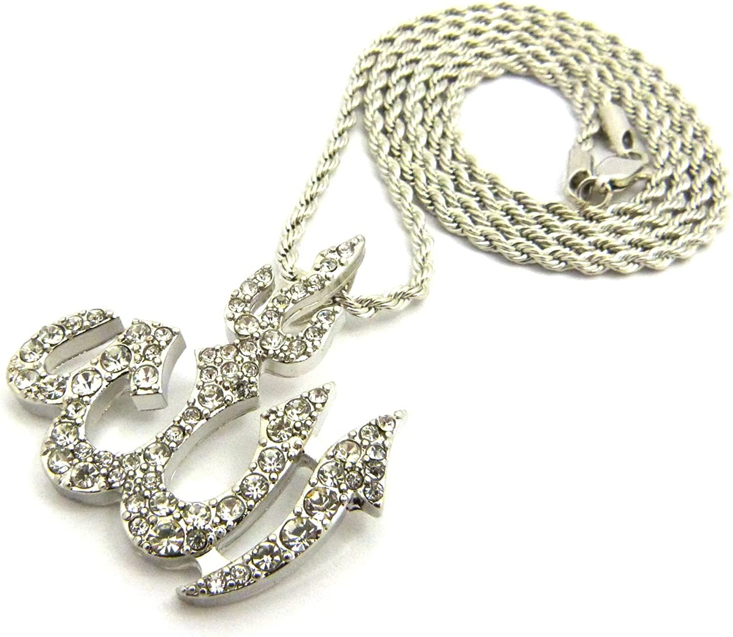 XQP44R NEW ICED OUT ALLAH PENDANT /& 24 BOX//CUBAN//ROPE CHAIN HIP HOP NECKLACE