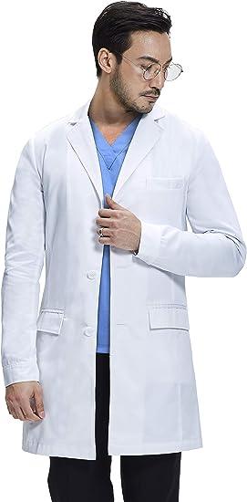 James Bata Blanco Medico Mujer Varios Bolsillos 94cm de Longitud Dr Corte Cl/ásico