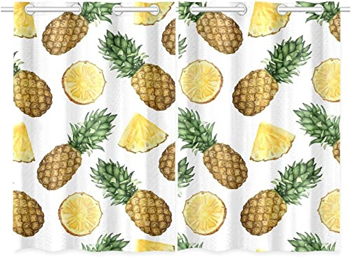 INTERESTPRINT Tropical Theme Home Kitchen Decor, Yellow Pineapple Window Treatment Panel Curtains,Set of 2,Total 52 x 39