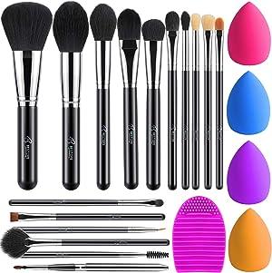 BESTOPE Makeup Brushes 16PCs Makeup Brushes Set with 4PCs Makeup Blender Sponge and 1 Brush Cleaner Premium Synthetic Foundation Brushes Blending Face Powder Eye Shadows Make Up Brushes Tool