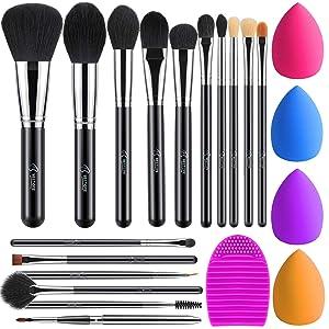 BESTOPE 16Pcs Makeup Brushes Set, 4Pcs Beauty Blender Sponge Set and 1 Brush Cleaner, Premium Synthetic Foundation Brushes Blending Face Powder Eye Shadows Make Up Brushes Kit