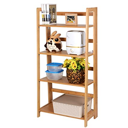 SortWise 4 Tiers Bamboo Folding Bookshelf Rack Bookcase Home Office Multifunctional Shelf Storage Organizer