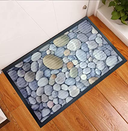 Status 3D Printed Digital Rubber Doormat with Anti Skid Backing Size: 57 X 37 cm (Pack of 1) (Stone Print -B)