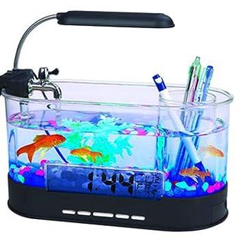 Pequeño Tanque De Peces Mini Tanque De Peces USB Acuario Tanque De Peces Ecológico Ornamental,Black: Amazon.es: Hogar