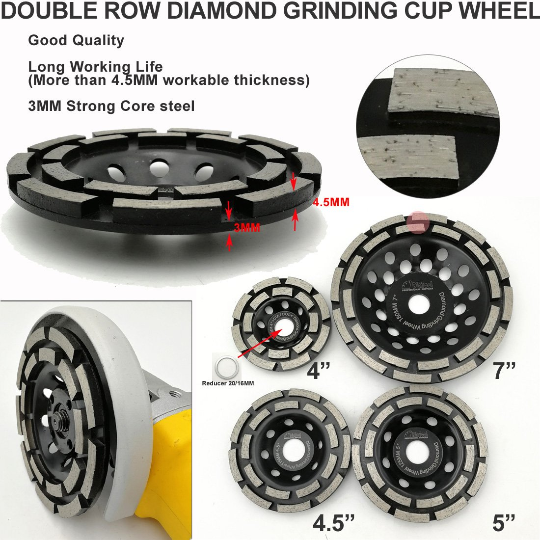 SHDIATOOL 4.5 Inch Diamond Double Row Grinding Cup Wheel for Concrete Masonry Granite Marble