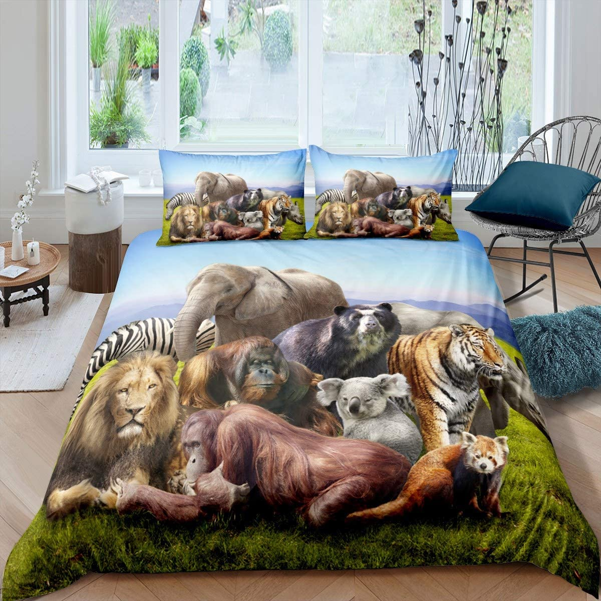 Lion Tiger Bedding Set Zebra Elephant Comforter Cover for Kids Boys Teens Wild Animal Theme Pattern Duvet Cover Breathable Wildlife Style Decor Bedspread Cover Room Decor Quilt Cover King Size