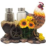 Mother Hen and Chicks Glass Salt and Pepper Shaker Set with Decorative Sunflowers & Old Fashioned Hay Wagon Accents for Rustic Country Kitchen Decor Figurines or Display Stands Featuring Farm Animals, Roosters or Chickens As Gifts for Farmers by Home-n-Gifts