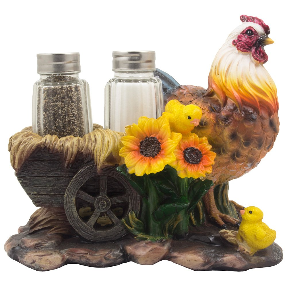 Mother Hen and Chicks Glass Salt and Pepper Shaker Set with Decorative Sunflowers and Old Fashioned Hay Wagon Accents for Rustic Country Kitchen Decor Figurines or Display Stands Featuring Farm Animals, Roosters or Chickens As Gifts for Farmers by Home-n-Gifts