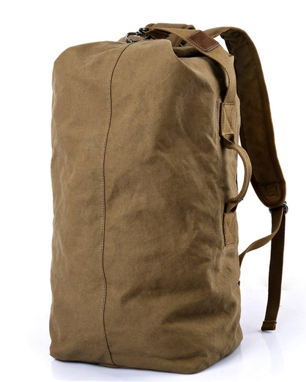WOMJIA Oversized Heavy Duty Canvas Travel Duffel Bag 40 Liter Brown
