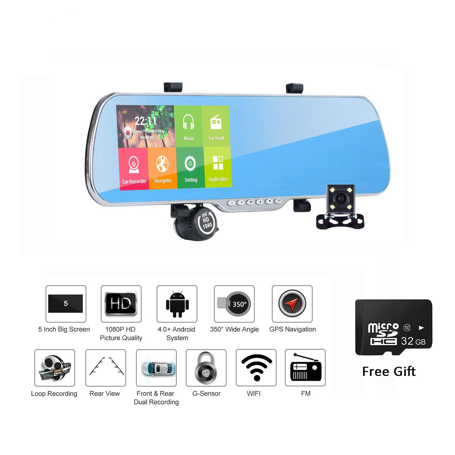 Dash Cam Rear View Mirror,Rear View Mirror Rotate  Dash Cam Android FHD 1080P Dual Lens Car Camera 5 Inch Touch Screen With GPS WiFi FM 32GB Card