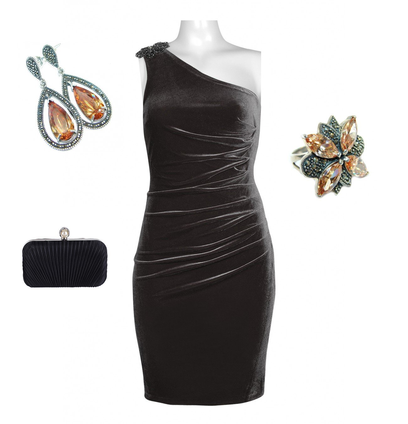 Complete Attire Bundle: Beaded One Shoulder Ruched Side Velvet Dress With Outfit