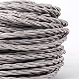 (MLCA023) 3 Core Grey - ANTIQUE BRAIDED TWISTED WOVEN SILK FABRIC LAMP FLEXIBLE CABLE WIRE CORD LIGHT