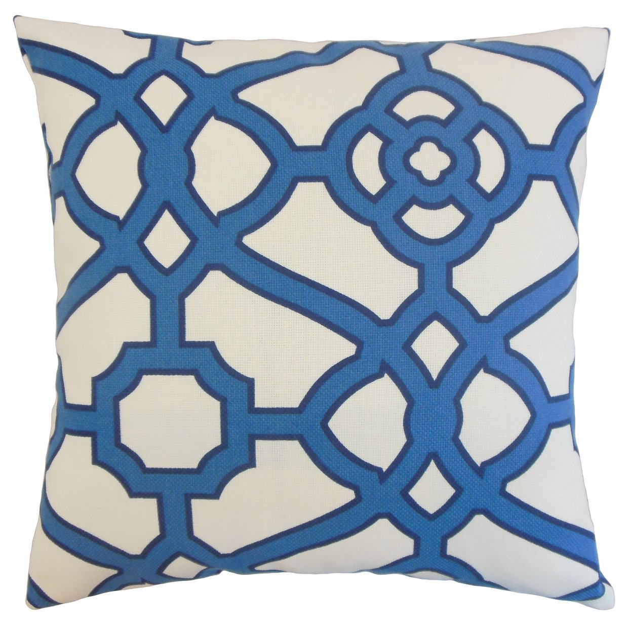 The Pillow Collection P18FLAT-FT-29006-NAVY-OUT Faina Outdoor Throw Pillow Cover 18 x 18