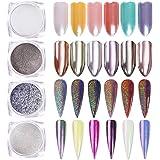 BORN PRETTY 4 Boxes Nail Art Powder Mirror Holographic Laser Colorful Neon Pearl Pigment Manicuring Glitter Dust