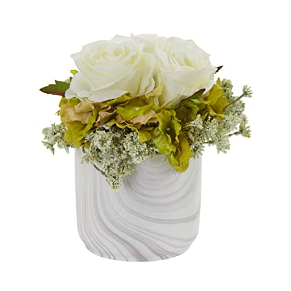 Amazon Nearly Natural 1629 Wh Rose And Hydrangea Artificial