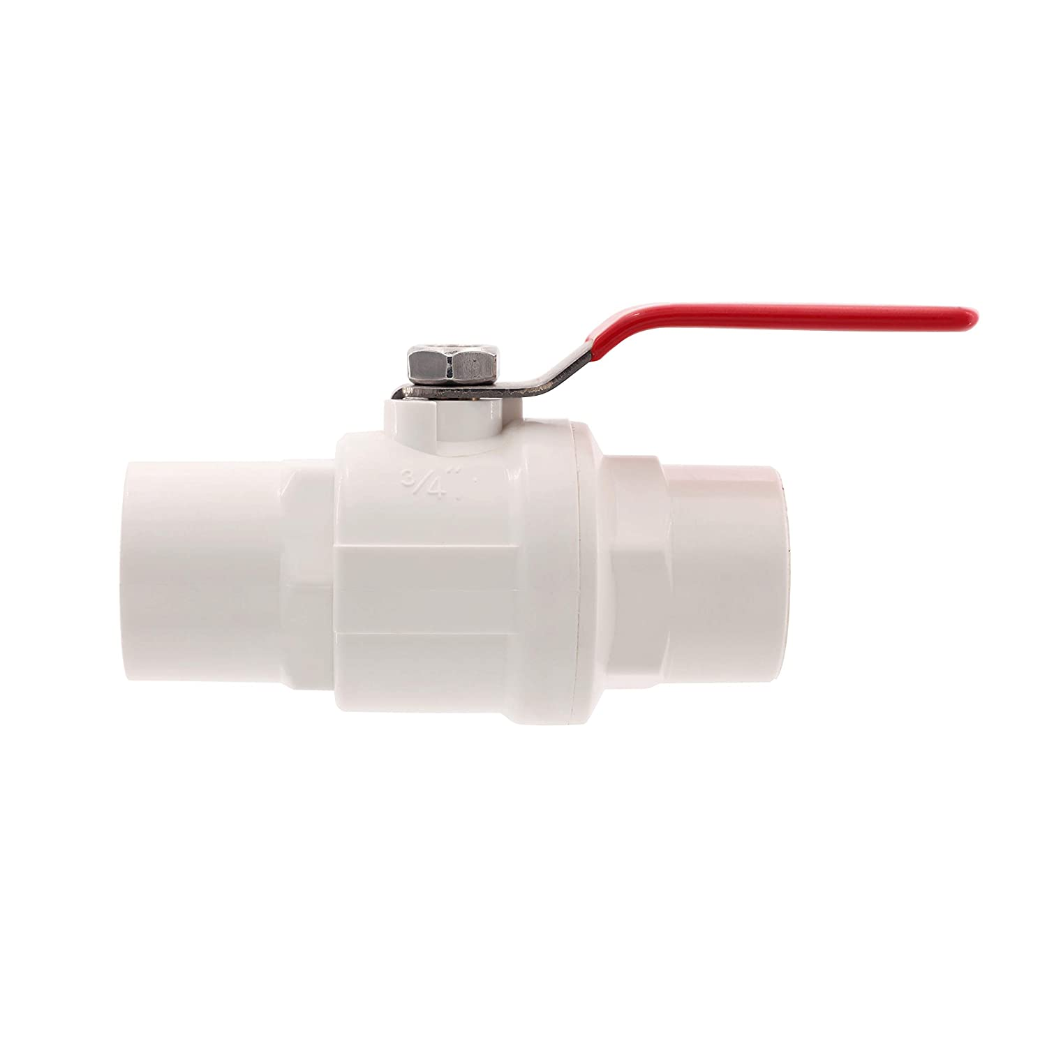 SHYOKO Inline PVC Ball Valve 1-1//2 Water Shut-Off Valves NPT Female 2-Piece Ball Valves with Stainless Steel Handle and Chromium ABS Ball Available 3//4,1,2