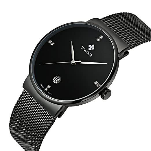 WWOOR Para los Hombres modernos Ultra plano Reloj analógico de tres agujas con calendario de Malla