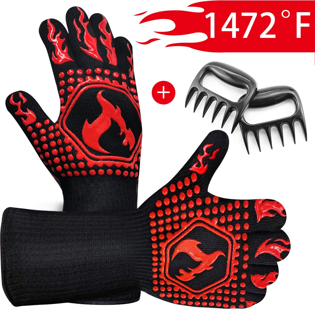 Mierting BBQ Gloves 1472℉ Extreme Heat Resistant Grill Gloves and Barbecue Claws, Food Grade Kitchen Grilling Gloves, Oven Mitts for Barbecue, Cooking, Baking, Welding, Cutting, 14 Inch