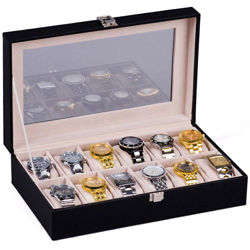 H&S Watch Box Glass Lid 12 Watches Jewellery Display Storage Box Case Bracelet Tray Faux Leather Black
