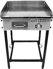 "Hunslow Taco Cart Steel Griddle 21"" x 16"" Propane Gas Burner Plancha Portable Outdoor"