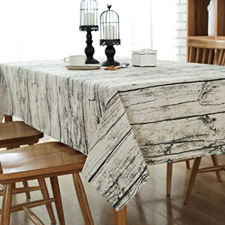 Dining Tablecloth Rectangle GGG Retro Wood Decoration Table Cloth For Family Coffee