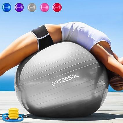 Arteesol Pelota de Ejercicio 65cm / 75cm Balón Pilates Anti-explosión con Bomba para Nacimiento, Gimnasio, Yoga, Pilates, Entrenamiento, Terapia ...