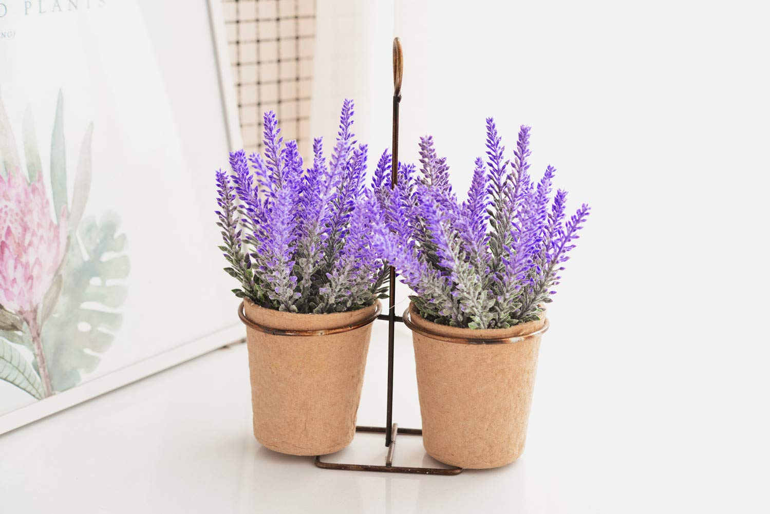 AlphaAcc 2 Piece 8 inches Potted Lavender Artificial Flower with Metal Wire Hanging Display for Home Decoration