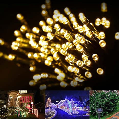 swe 72ft 22m 200 led solar christmas lights warm white waterproof fairy string lights wedding party