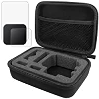 Protective Case for GoPro Hero 5 Hero 6 with Lens & Screen Protectors Protectors and Lens Cap, FineGood 1 Carrying Case with 2 Pcs Tempered Glass and 1 Plastic Lens Cover for Hero5 Hero 6