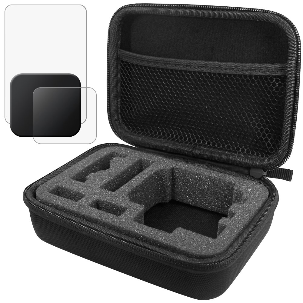 Protective Case for GoPro Hero 5 6 with Lens & Screen Protectors and Lens Cap, FineGood 1 Carrying Case with 2 Pcs Tempered Glass and 1 Plastic Lens Cover for Hero5 Hero6 by FineGood