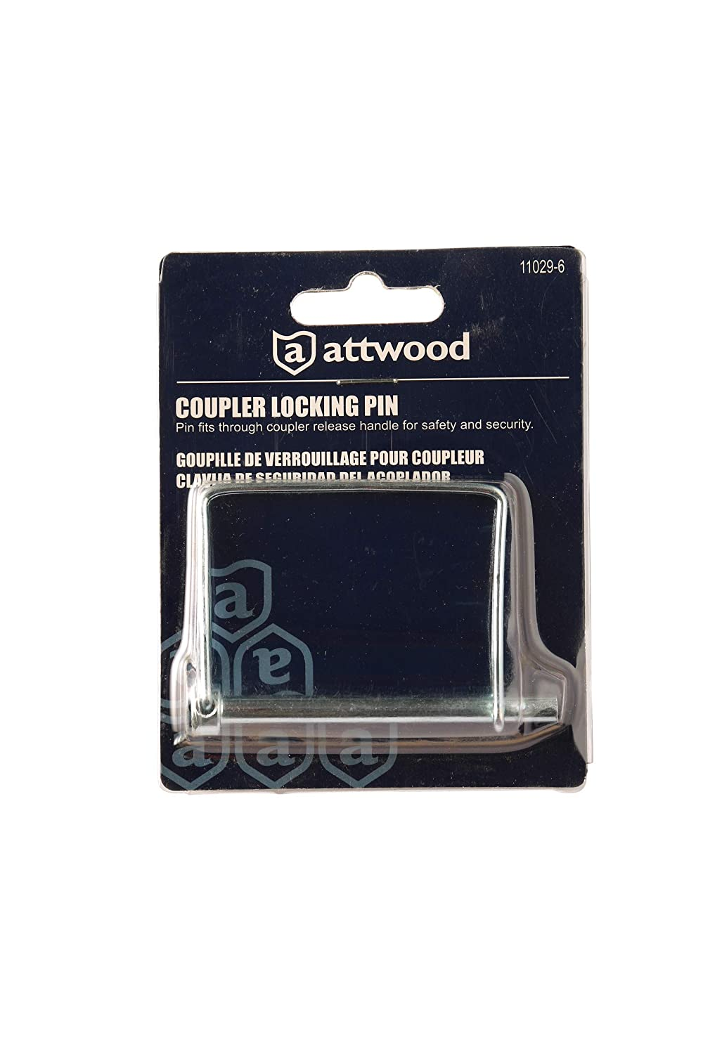 attwood 11029-6 Zinc-Plated Steel Trailer Safety Coupler Locking Pin