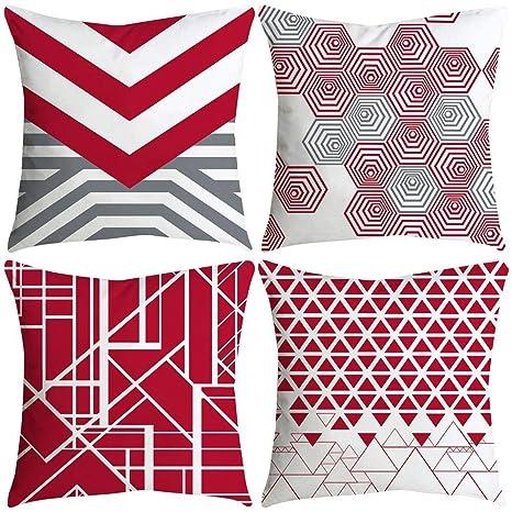 VJGOAL impresión de Moda hogar Decorativo Suave sofá cómodo Cojín Cuadrado Funda de Almohada 4 Piezas Conjunto(45_x_45_cm,Multicolor3)
