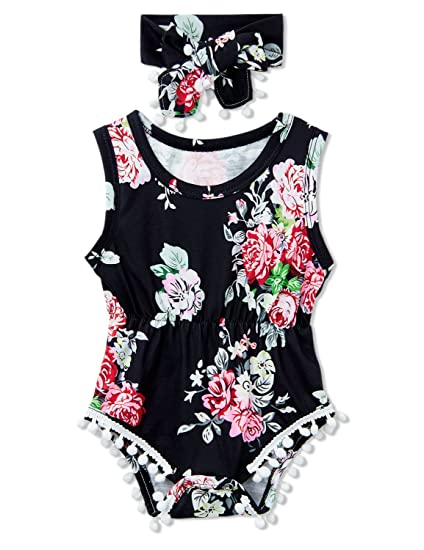 6064316d21d2 Funnycokid Newborn Baby Girls Romper Infant Toddler Jumpsuit Playsuit  Headband Outfits