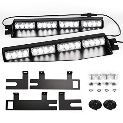 ASPL 32LED Visor Lights 26 Flash Patterns Windshield Emergency Hazard Warning Strobe Beacon Split Mount Deck Dash Lamp With Extend Bracket (White): Automotive