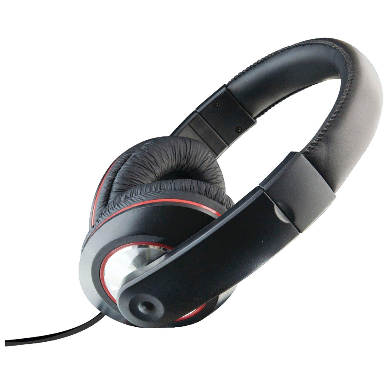 DPI iLive iAHV62B DJ Headphones with Mic and Volume Control, Black/Red