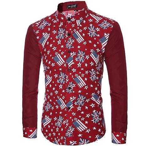 Camisas hombre Hombre impreso camisas de manga larga moda popular,YanHoo Mens Casual manga larga