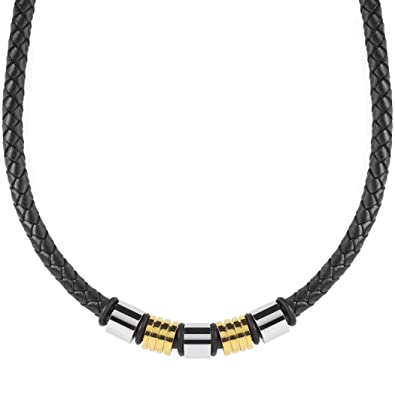 110e3a1d2dee33 Image Unavailable. Image not available for. Color: Crucible Two-Tone Braided  Leather Beaded Necklace ...