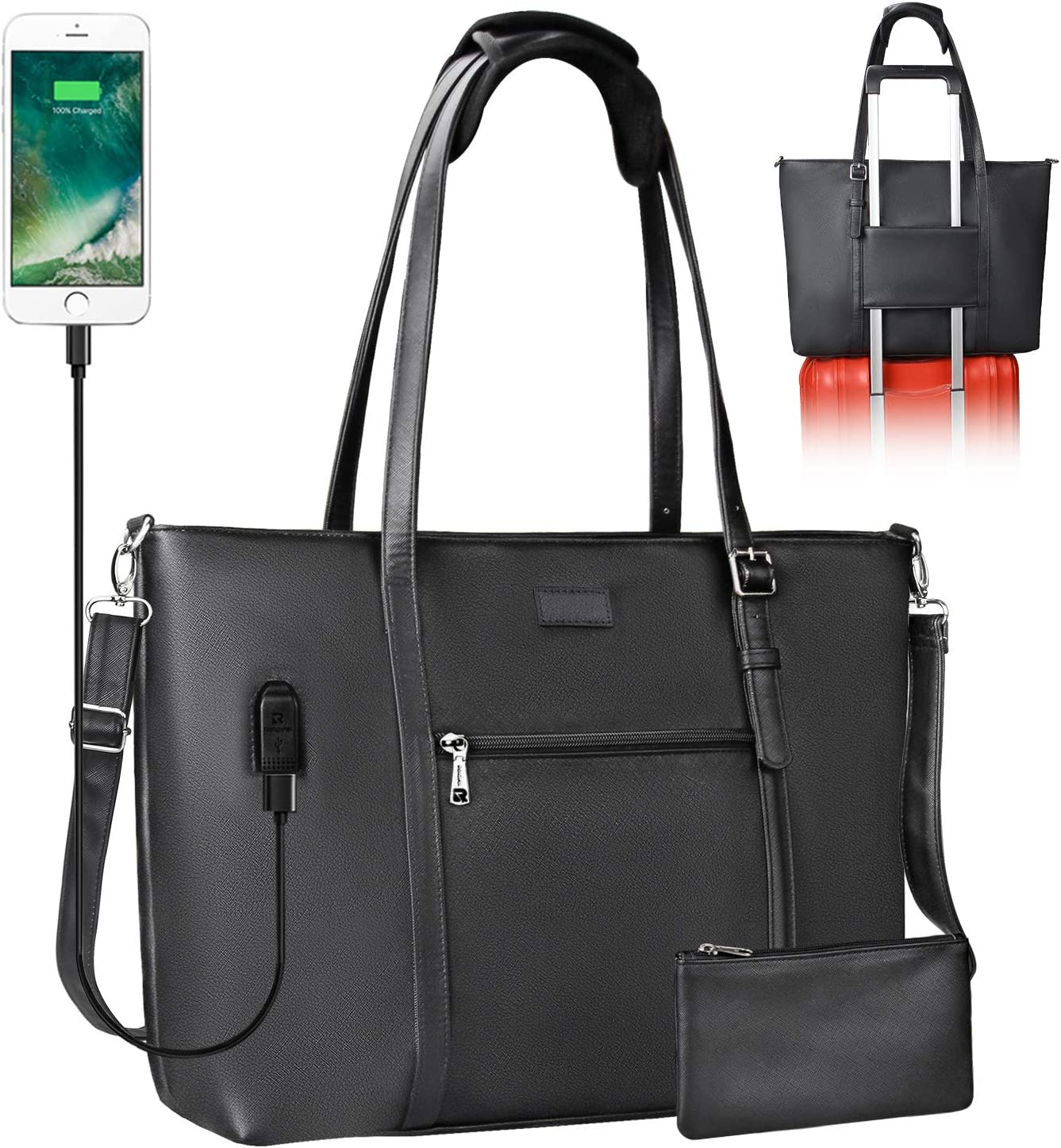 USB Laptop Tote Bag, Chomeiu Woman 15.6 inch Laptop Organizer Bag Teacher Work Purse Attach to Trolley (Black Leather)