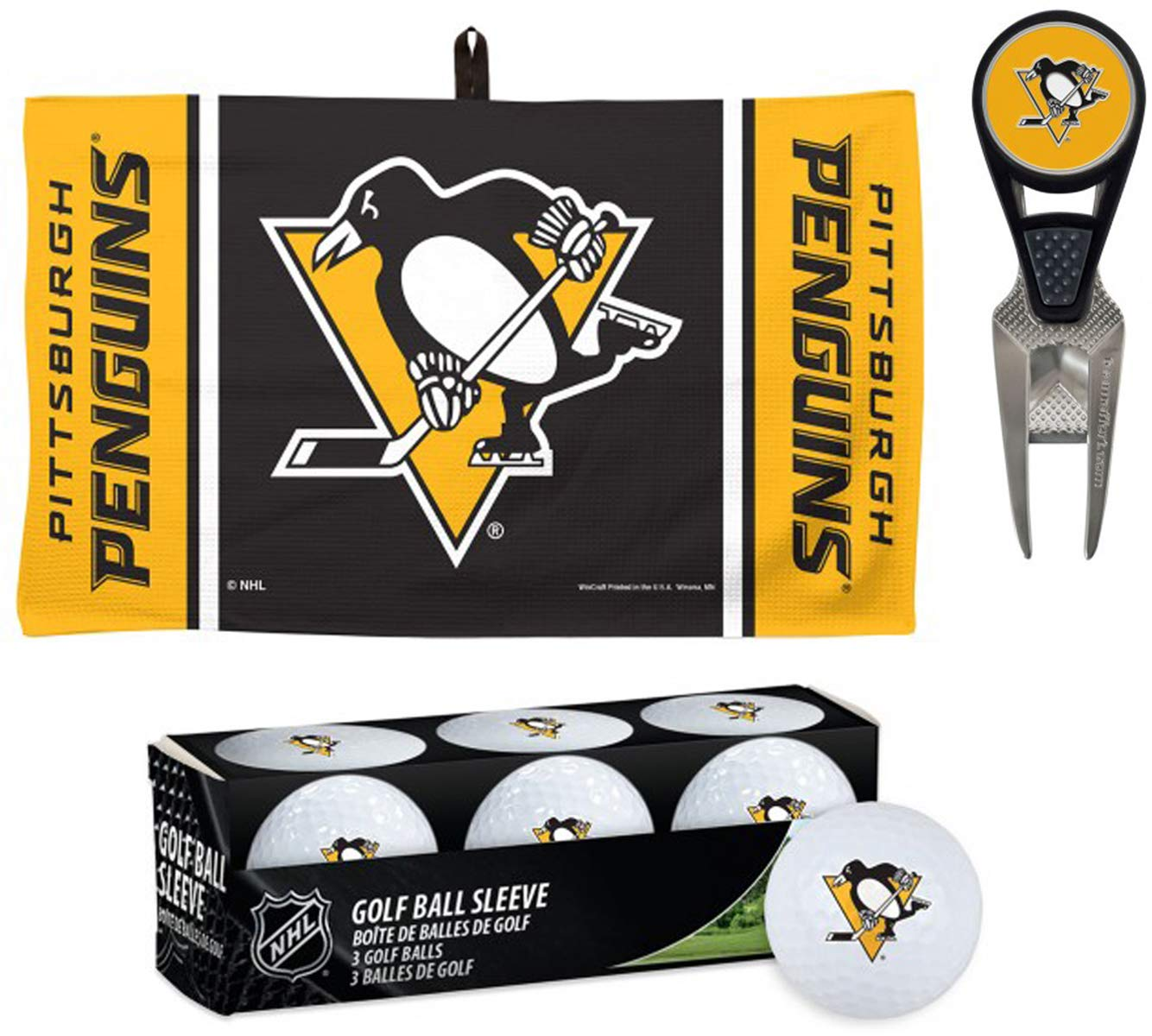 WinCraft Bundle 3 Items NHL Pittsburgh Penguins 1 Golf Waffle Towel 14x24 1 CVX Divot Tool and 1 Sleeve of 3 Golf Balls