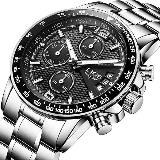 Relojes Hombres Impermeable Analógico Cuarzo Reloj de Pulsera Hombres Lujo Marca Ligero Cronógrafo Deporte Reloj Hombre Negro Acero Inoxidable Azul Reloj de ...