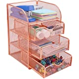 PAG Rose Gold Desk Organizer Stick Note Holder Mesh Office Supplies and Accessories Storage Caddy with 3 Drawers