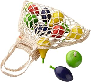 HABA Shopping Net Fruits - 10 Piece Wooden Pretend Play Food Set in Cotton Bag (Made in Germany)