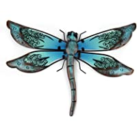 Liffy Gift Metal with Glass Handmade Dragonfly Design Wall Decor for Home, Patio, Porch, Bathroom