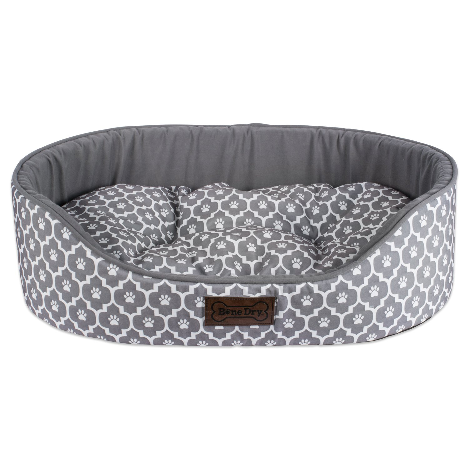 DII Bone Dry Lattice Pet Bed, 20x28x8'', Modern & Fashionable Medium Oval Bed For Dogs Or Cats-Gray