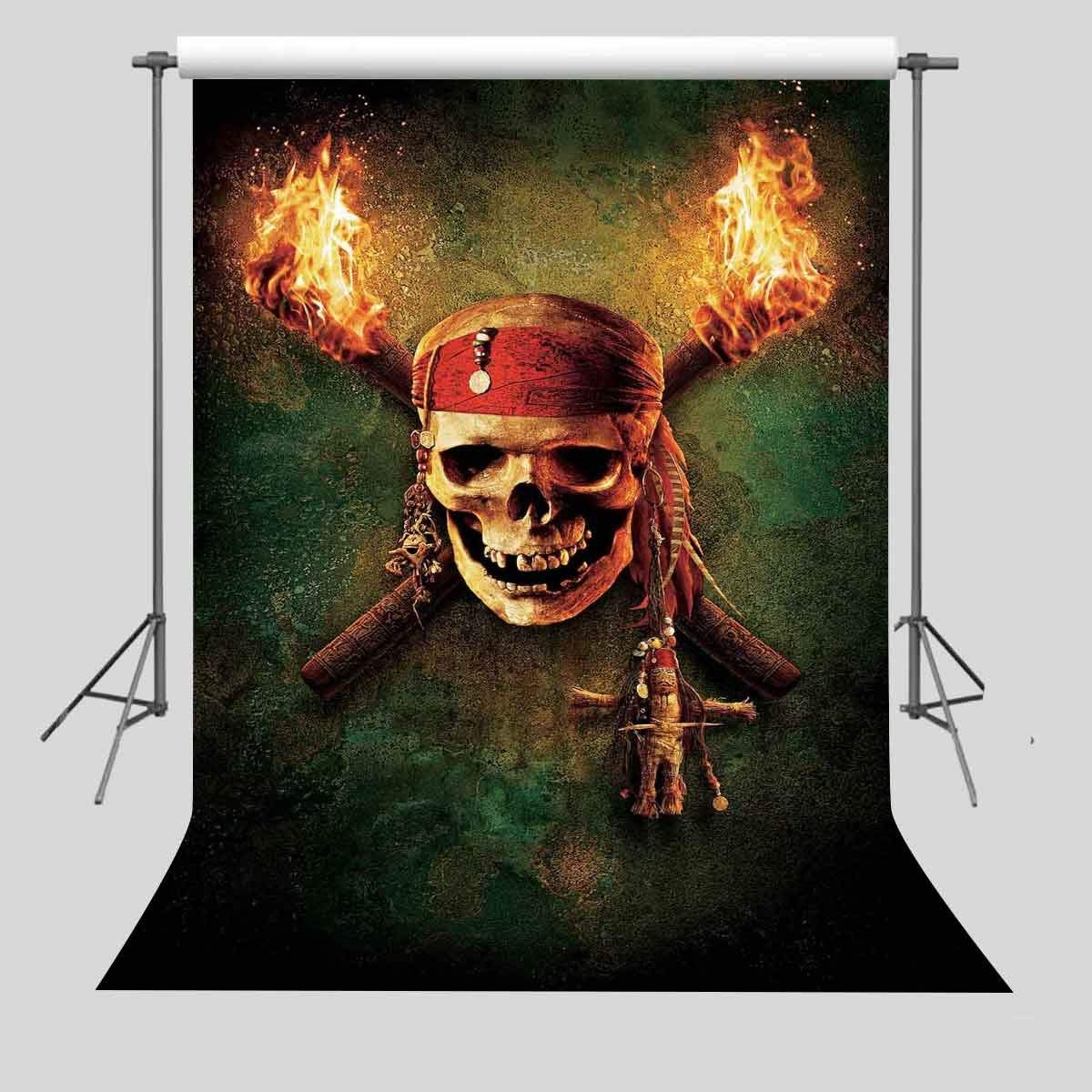 FUERMOR Background 5x7ft Pirate Skull Photography Backdrop Photo Props Photography Backdrops GEFU452