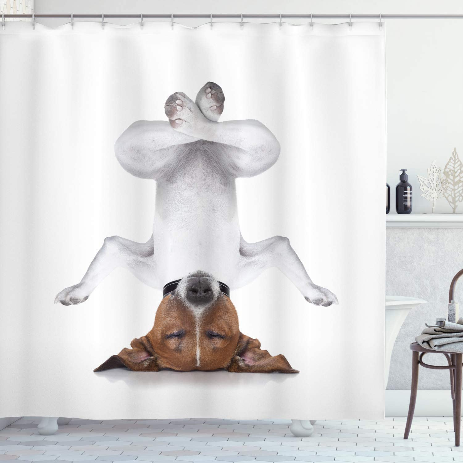 Ambesonne Yoga Shower Curtain, Dog Upside Down Relaxing with Closed Eyes Doing Yoga Calm Therapy Humor Animal Print, Cloth Fabric Bathroom Decor Set with Hooks, 84