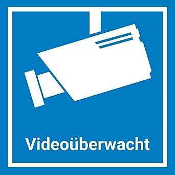 Videouberwachung Aufkleber Sticker 7 5 X 7 5 Cm Blau