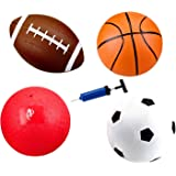 Set of 4 Inflatable Sports Balls for Kids (Soccer Ball, Basketball, Football, Volleyball) with Pump by Bo Toys